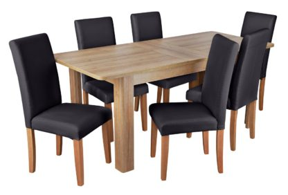 An Image of Habitat Miami Curve Extending Table & 6 Black Chairs