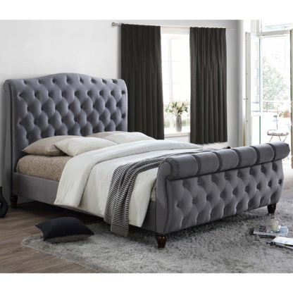 An Image of Colorado Fabric Bed Frame Grey