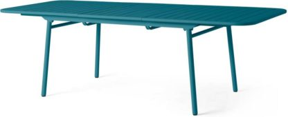 An Image of Tice Garden 8-10 Extendable Dining Table, Teal