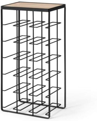 An Image of Tomas 18 Bottle Wine Rack, Black & Natural