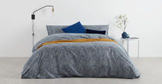 An Image of Fleck Brushed Cotton Duvet Cover + 2 Pillowcases, Double, Midnight Blue UK