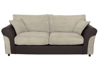An Image of Argos Home Harry 3 Seater Fabric Sofa - Natural
