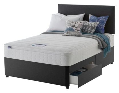 An Image of Silentnight Travis Small Double 2 Drawer Divan Bed -Charcoal