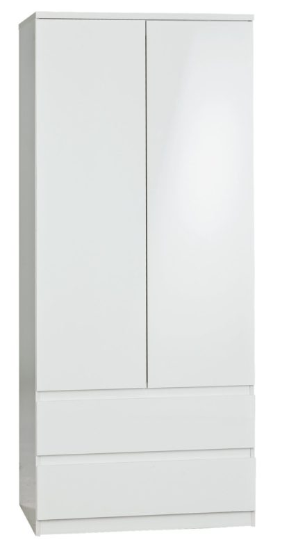 An Image of Habitat Jenson Gloss 2 Door 2 Drawer Wardrobe - White