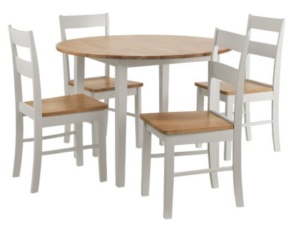 An Image of Habitat Chicago Solid Wood Round Table & 4 Two Tone Chair