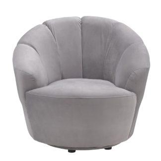 An Image of Habitat Ezra Velvet Swival Chair - Light Grey