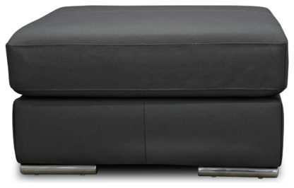 An Image of Argos Home Valenica Leather Footstool - Light Grey