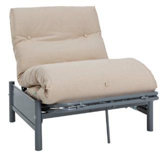 An Image of Argos Home Single Futon Metal Sofa Bed w/ Mattress - Natural