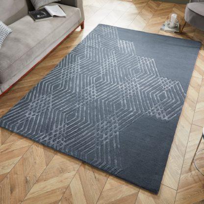 An Image of Diamonds Wool Rug Grey