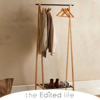 An Image of Ash Wood Clothes Rail with Storage Shelf Natural (Brown)