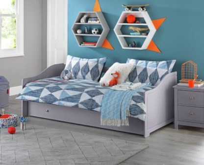 An Image of Argos Home Brooklyn Wooden Day Bed with Trundle - Grey