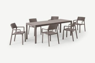 An Image of Nardi 6 Seat Extending Dining Set, Light Grey Fibreglass, Resin & Aluminium
