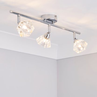 An Image of Khobi 3 Light Glass Spotlight Bar Silver