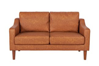 An Image of Argos Home Brixton 2 Seater Faux Leather Sofa - Tan