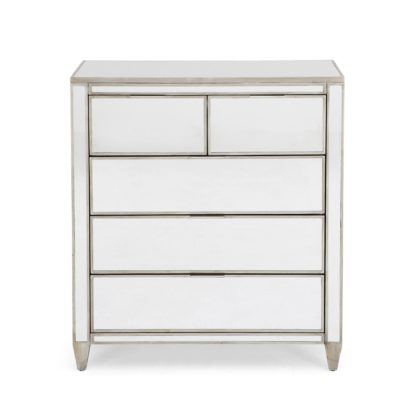 An Image of Fitzgerald Mirrored 5 Drawer Chest Silver