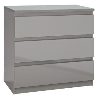 An Image of Habitat Jenson 3 Drawer Chest - Grey Gloss