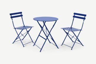 An Image of 2 Seat Garden Folding Bistro Set, Blue