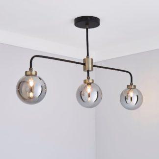 An Image of Tanner 3 Light Black Bar Ceiling Fitting Black