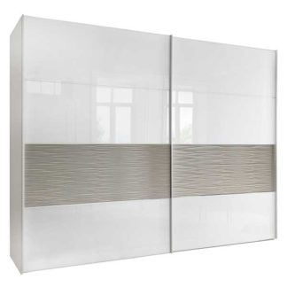 An Image of Riga 2 Door Sliding Wardrobe White Glass and Structure Pebble