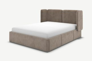 An Image of Ricola King Size Bed with Storage Drawers, Mole Grey Velvet