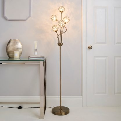An Image of Sphere 5 Light Glass Floor Lamp Gold