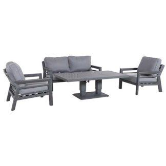 An Image of Soho Garden Sofa Set with Coffee Table & Grey Cushions