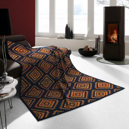 An Image of Thermosoft Ethno Shade Orange Blanket Navy (Blue)