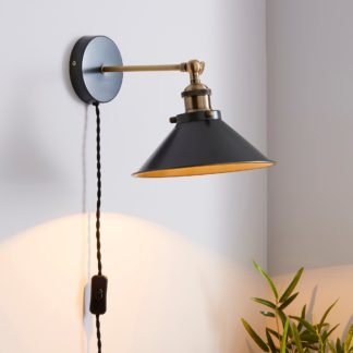An Image of Logan Grey Industrial Easy Fit Plug In Wall Light Grey