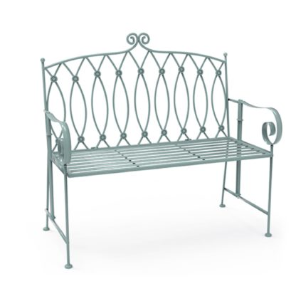 An Image of Wrought Iron 2 Seater Sage Green Bench Sage Green
