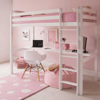 An Image of Buddy Childrens Beech Highsleeper Loft Bed With Full Length Desk