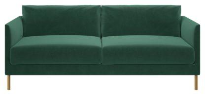 An Image of Habitat Hyde 3 Seater Fabric Sofa - Green