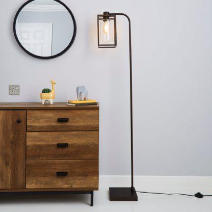 An Image of London Bronze Industrial Floor Lamp Brown