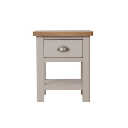 An Image of Reese 1 Drawer Lamp Table Grey and Brown