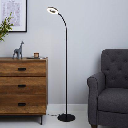 An Image of Lekan Integrated LED Black Floor Lamp Black