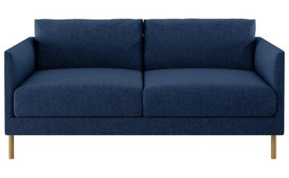 An Image of Habitat Hyde 2 Seater Fabric Sofa - Blue