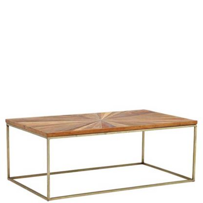 An Image of Jupiter Coffee Table Wood Top With Antique Brass Leg