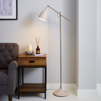 An Image of Robson Mushroom Lever Arm Floor Lamp Cream