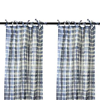 An Image of Pair of Tie Dye Hanging Drapes Blue
