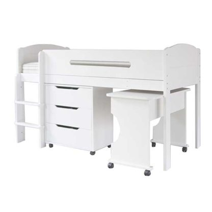 An Image of Kenzie Childrens Midsleeper with Desk And Chest Of Drawers