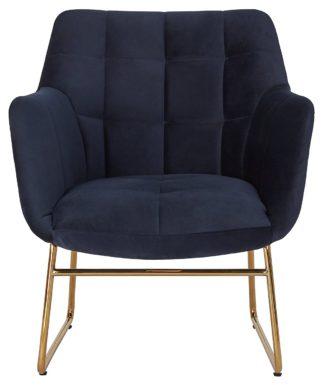 An Image of Habitat Cyrus Velvet Sleigh Accent Chair - Navy