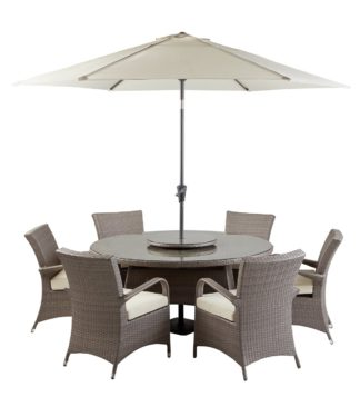 An Image of Argos Home Seychelles 6 Seater Rattan Effect Patio Set -Grey