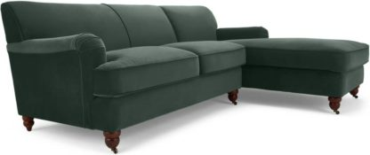 An Image of Orson Right Hand Facing Chaise End Corner Sofa, Autumn Green Velvet