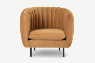 An Image of Helma Accent Armchair, Apricot Velvet