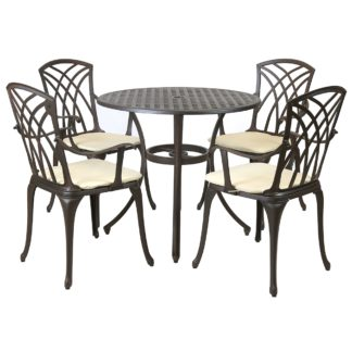 An Image of Cast Aluminium 4 Seater Round Bronze Dining Set Bronze