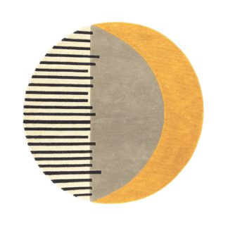 An Image of Elements Ochre Shield Wool Circle Rug Blue, Grey and Yellow