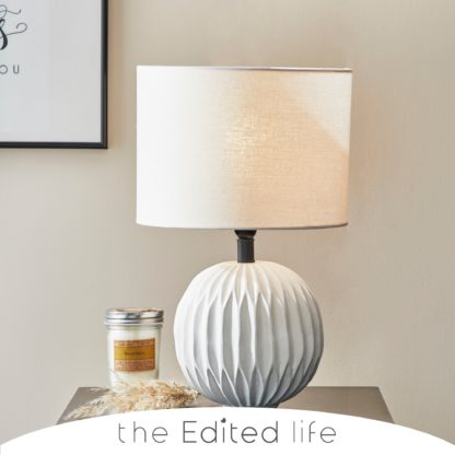 An Image of Ecomix Ball Shaped White Table Lamp White