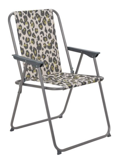 An Image of Argos Home Metal Folding Picnic Chair - Leopard Print