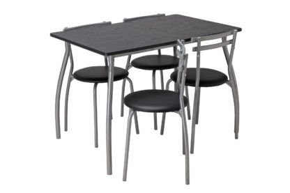 An Image of Argos Home Leon Black Dining Table & 4 Black Chairs