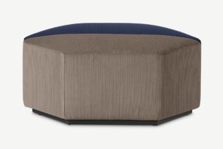 An Image of Zazie Modular 2-Part Pouffe, Navy & Taupe Corduroy Velvet
