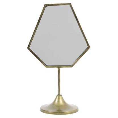 An Image of Antique Bronze Deco Mirror on Stand